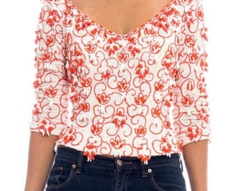 1960s Beaded Top Size: S