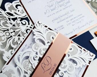 Dusk copper wedding invitations - Laser cut wedding invitation sample navy blue, dusk and copper {Narcissus design - Sku: NarSer01}