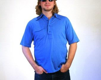 70s Blue Polo Shirt, Men's Short Sleeve Golf Shirt, Blue Sportswear Summer Shirt, Men's Vintage Pullover Shirt, L