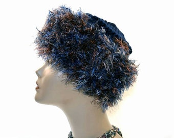 Navy Blue Russian Style Hat with Faux Fur Trim - Hand Knit Cossack Style Hat, Winter Hat with Sparkle, Chunky Knit Hat, Ready to Ship