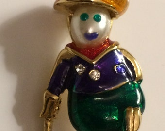 Vintage Pearl Head GolferMan  Brooch ~ Enamel and Rhinestones ~ Cute