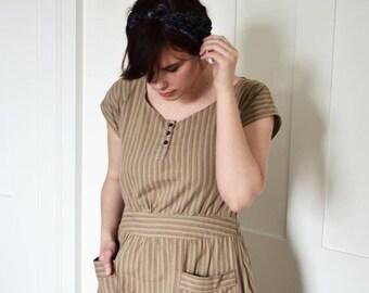 Henley Dress / Vintage Dress / Retro Dress / New Vintage Dress / Handmade Vintage Dress / Shirt Dress  / Depression Era Dress