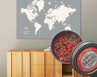 Anniversary gift for her, Push Pin Map, World Map, Travel Map, Push pin World Map, World Map Push Pin, World Map Canvas, World Map Art