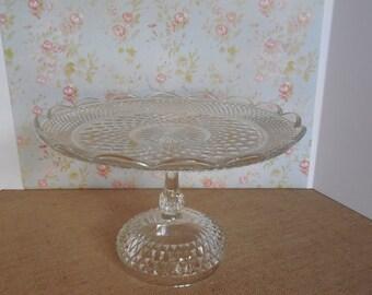 14 inch Glass Cake Stand / Vintage Glass Cake Stand / Diamond Point / Wedding Cake Stand /  Dessert Stand / Baby shower
