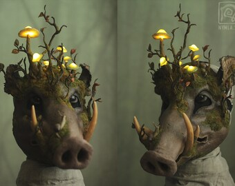 Glowing Mushroom Boar Mask - Autumn Nature Snails - Hand made OOAK, Papier maché, Paper clay, Ecological