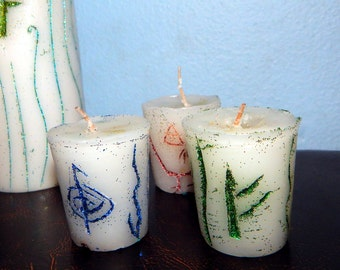 Hand-made Ritual votive, Prayer candle - Fixed, Dressed. Any Intent - 100% Hand-crafted with soy wax, herbs and oils