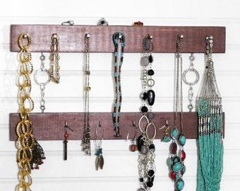 "Copper 2-Tier Organizer for Jewelry, Belts, Scarves, Neckties. For Men or Ladies. 16"" Long. Hang in the Closet, Bedroom, or Bathroom."