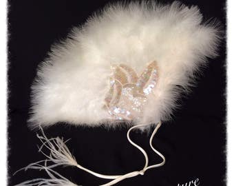 Ivory Feather and Iridescent Sequin fan