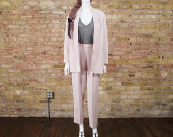mini ribbed pant suit / classic pant suit / pastel pink / pant set / slouchy set / pleated pants / high waist trousers / oversized blazer