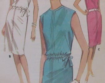 Vintage 1960s  Butterick  Quick N Easy Shift Dress Sewing Pattern #2694  Size 16