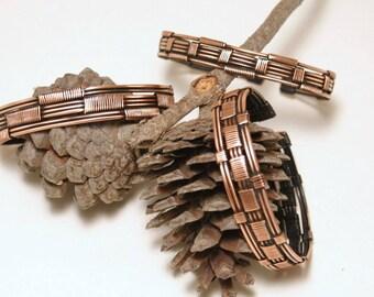 copper bracelet set - copper cuff bracelet - copper jewelry - copper bracelet - wire wrapped bracelet -  copper wire jewelry - gift for mom