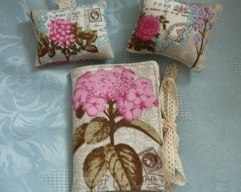 Botanical Print Needlecase, Pincushion, Lavender Sachet Set, Sewing Accessories, Gift for Her, Sewing Gift, Needle Book, Vintage Style Gift