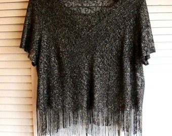 Vintage Black and Gold Metallic Knit Crochet Sheer Fringed Blouse Size Large/ X-Large