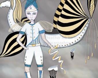 Unicorn Princess - Limited Edition Fine Art Print - Digital Painting - Fantasy, Dark, Blue, Gold, Yellow, White
