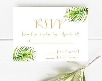 Printable RSVP card, Tropical Rsvp card, Palm leaf rsvp card, Destination Wedding RSVP card, Beach wedding rsvp card, Palm leaf Rsvp card
