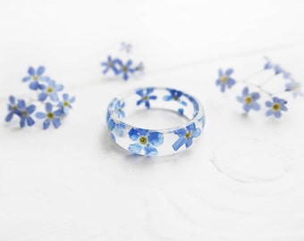Pressed flower jewelry forget me not ring for her wedding bands womens ring anniversary ring forget me not jewelry resin ring terrarium ring