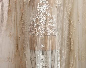 Vintage 1920's Tambour Net Lace Dress / Flapper Dress / Wedding Dress / Antique Dress / Embroidered Dress / Bridal / Size M