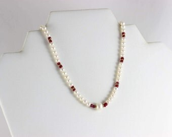 Gold over Sterling Silver Ruby and Pearl Bead Necklace 18 inches