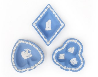 Genuine Wedgwood Jasperware Card Suit Nut/Candy Dishes, Blue Playing Card Suit Trays in Club, Spade, Diamond Shapes, Excellent Condition