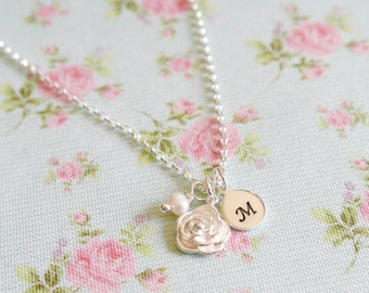 Personalised Rose Necklace, Gift Idea for Her, Silver Flower Pendant, Sterling Silver, Silver and Pearl, Grandma Gift, Childrens Initials