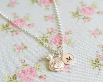 Personalised Rose Necklace, Mothers Day Gift Idea for Her, Silver Flower Pendant, Sterling Silver, Silver & Pearl, Grandma Gift