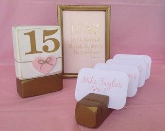 Wood  Heart Table Number -  Pink heart w/burnished gold base - Romantic wedding decor - Beach wedding decor