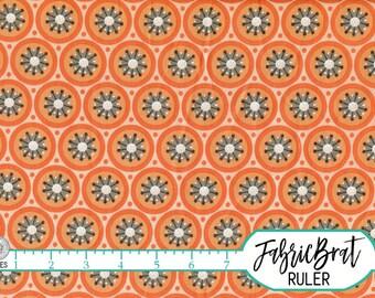 ORANGE & GRAY Fabric by the Yard Fat Quarter Circles Geometric Fabric Orange Apparel Fabric Quilting Fabric 100% Cotton Fabric Yardage w8-36