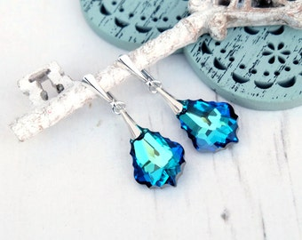Blue Swarovski baroque  crystal earrings jewellery Wedding bridal bridesmaids earrings Sterling Silver earrings Something blue Bermuda Blue