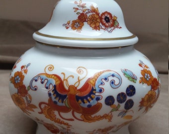 Josef Kuba JKW Lidded Ginger Jar with Bold Blossoms and Butterfly Motifs, Western Germany