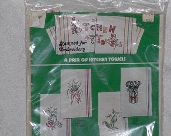 Kitchen Towels Pair Stamped for Embroidery Vegetables Vintage Vogart Crafts