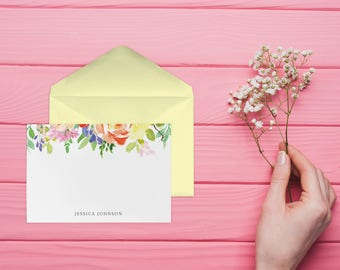 Personal Stationary, Personalised Stationary, Personalized Note Cards, Set of 10 Cards with Envelopes, NC003
