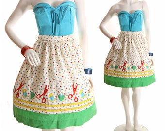 Late 1950s Novelty Print Sewing Seamstress Theme Skirt