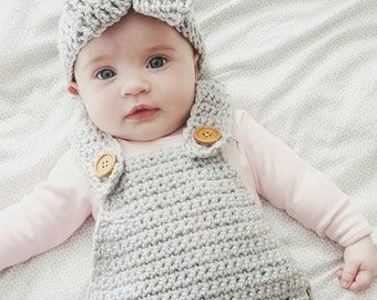 Hand crocheted dungarees - romper - overalls in sizes Newborn-2!