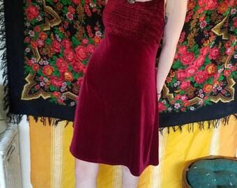 velvet red 90s dress/ womens small/medium