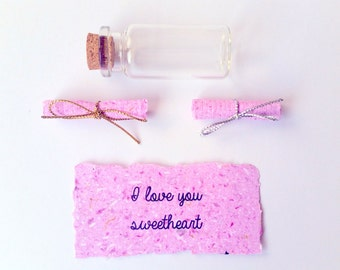 Paper Anniversary Message In A Bottle - 1st First Anniversary Gift - Valentines Day Gift - Secret Message - Thoughtful Gift For Her