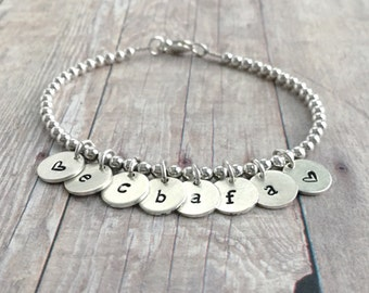 Initial Bracelet, Sterling Silver Charm Jewelry, Personalized Gift for Mom / Grandma / Sister / Friend, Custom Small Bead Bracelet