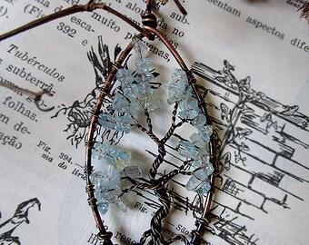 Aquamarine Tree of Life, Yggdrasil, Wisdom Tree, Aquamarine Pendant, Large Tree of Life, Celtic Pendant