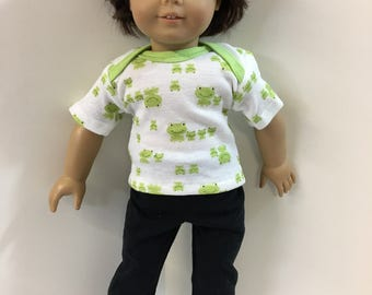 "18 inch BOY Doll Clothes, ""FROG FAMILY"" Top, Black Pants, 2-Piece Outfit, 18 inch Ag Boy American Dolls, 18"" Boy Doll Clothes, Ready to Play"