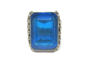 1990s Sterling Bright Blue Glass Ring Size 6.5