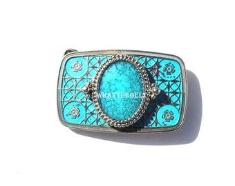 Vintage Silver Blue Turquoise Western Smaller Belt Buckle