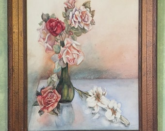 Vintage Painting Of Roses In A Vase Very Pretty Original Watercolour Delicate And Girly