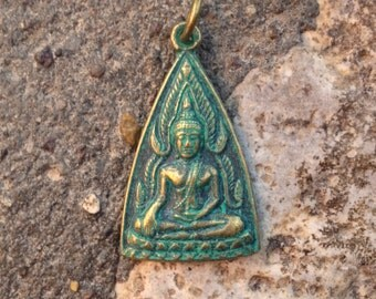 Green Patina Buddha Pendant from Thailand - 1 3/8 Inches