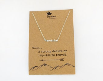 Wanderlust Necklace // Available in Gold or Silver • Travel Gift • Bon Voyage Gift • Wanderlust Jewellery • Gap Year • Free Postage