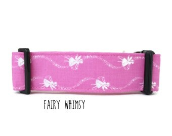 Girl Dog Collar, Fairy Dog Collar, Pixie Dog Collar, Pink Dog Collar, Faerie Dog Collar, Girly (Upgrade to Metal Buckle or Martingale)