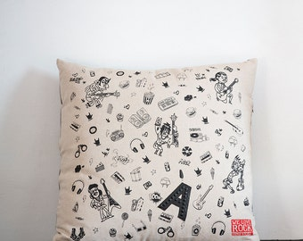 Rock ZEF pillow - cotton and eco-leather printed by hand