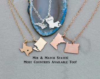 SALE • Best Friend Gift • Personalized Friendship Gift • Moving Away Gift • Engraved State Charm • Custom Location Jewelry • Custom State