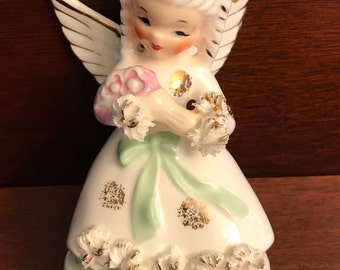 Angel Figurine, May Angel Figurine by Napco of Japan, collectible angel, porcelain Angel with May flowers, Birthday Gift, Gift for her