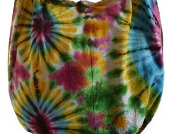 Cotton Tie Dye shoulder bag, Messenger, Hippie, Gypsy Sling ,Hippy, Hobo, Crossbody, Monk, Beach.