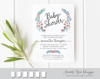 Floral Baby Shower Invitation: Feminine Baby Shower Invite, Printable DIY Invitation