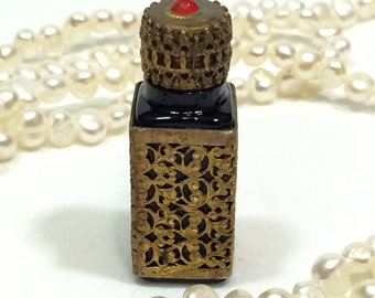 Miniature Perfume Bottle, Filigree Perfume Bottle, Dark Brown Glass, Vanity or Boudoir, Vintage